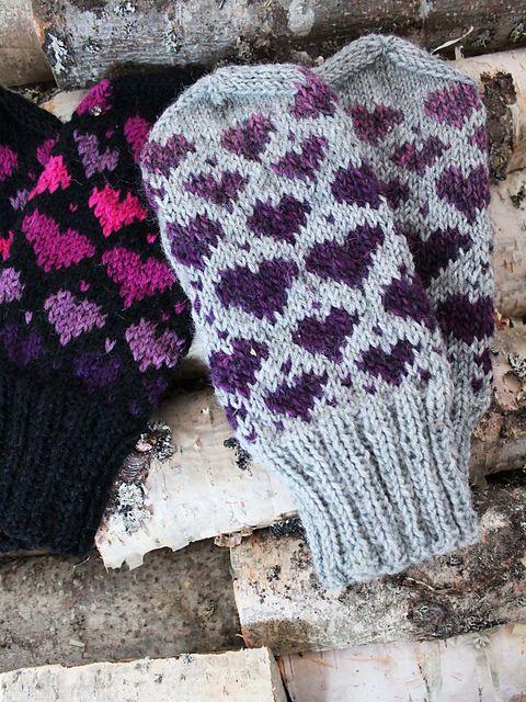 Free Mitten Patterns Knit : Ravelry: Valentine Mittens pattern by Milla H. Colourful hands Pinterest ...