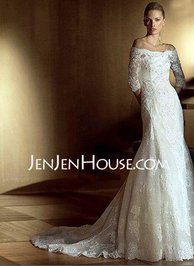Wedding Dresses - $187.69 - A-Line/Princess Off-the-Shoulder Chapel Train Satin  Lace Wedding Dresses With Beadwork (002011446) http://jenjenhouse.com/A-line-Princess-Off-the-shoulder-Chapel-Train-Satin--Lace-Wedding-Dresses-With-Beadwork-002011446-g11446