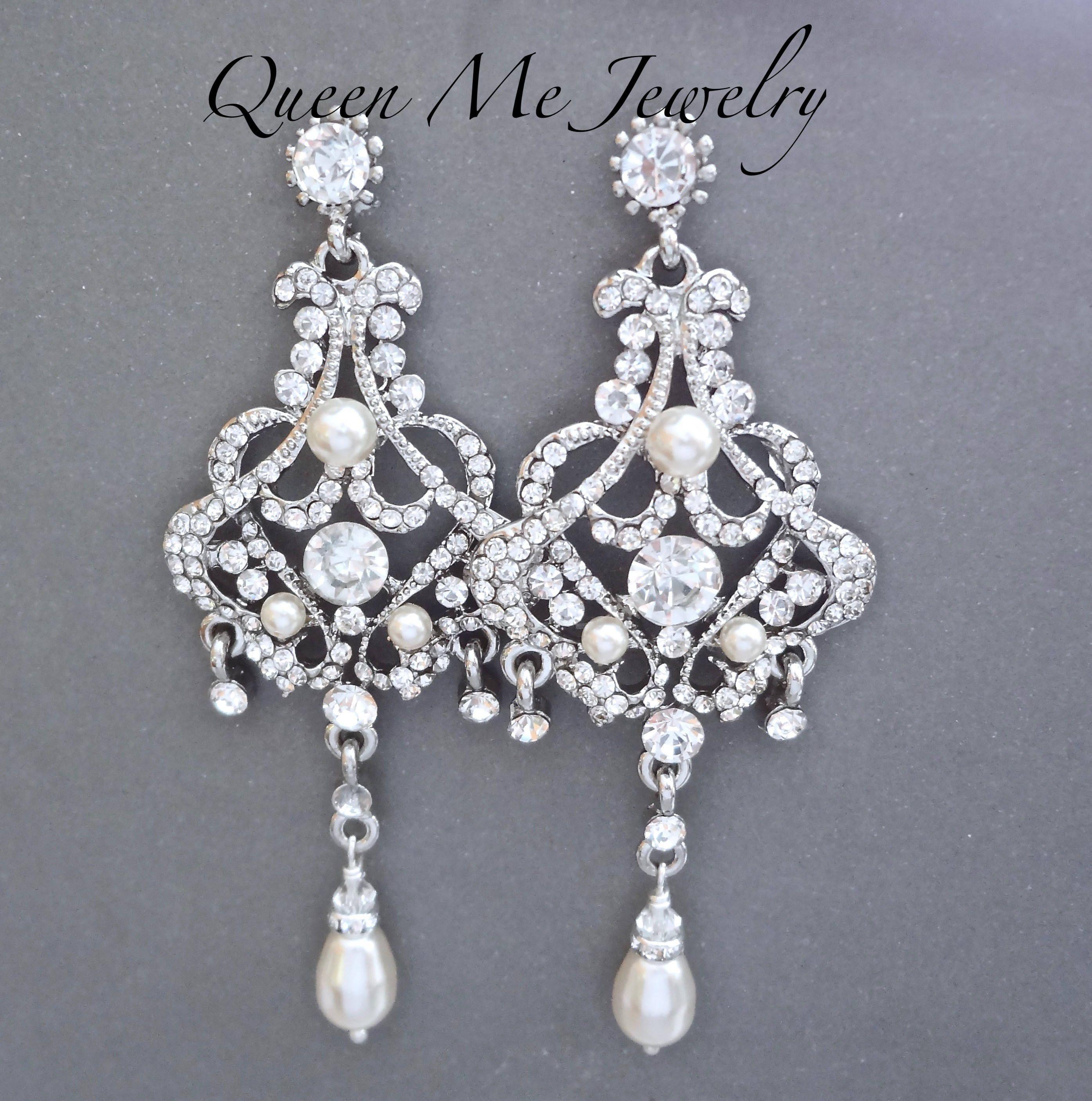 Long Chandelier Pearl Earrings Swarovski Pearls Crystal Couture