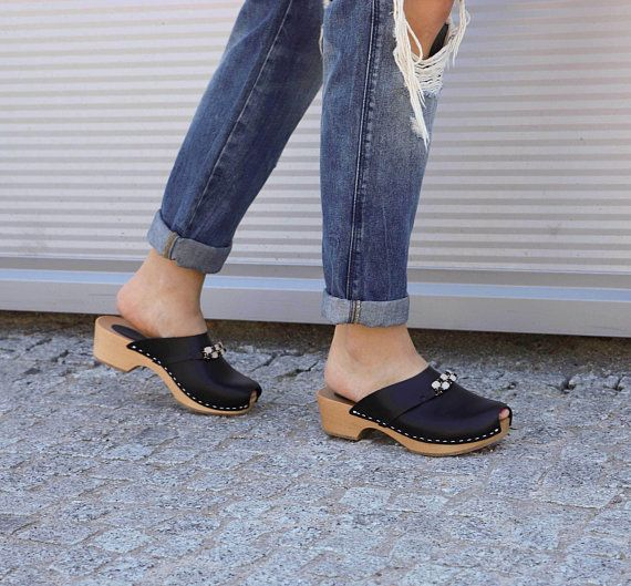 Sandals Moccasins Wooden Women clogs Leather Clog Womens clogs Boots Womens Wood brown BONDA green Swedish Clogs