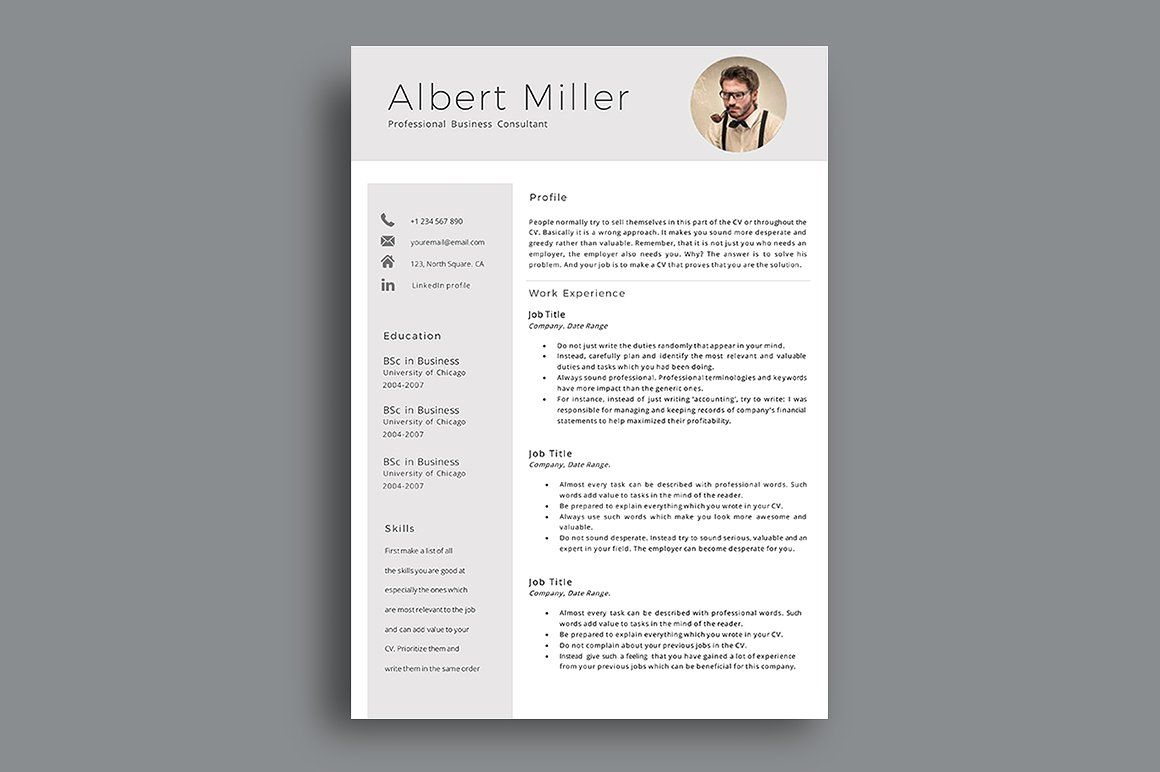 Resume Template With Photo Resume template, Templates