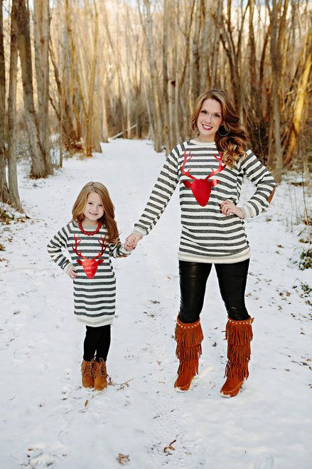 c0c249cbb4082e Mommy and Me Winter Stripes Red Foil Reindeer Terry Tunic Charcoal -  Ryleigh Rue Clothing by Modern Vintage Boutique