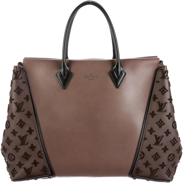 Pre-owned Louis Vuitton Monogram Velours W GM Tote (€3.735) ❤ liked on Polyvore featuring bags, handbags, tote bags, brown, monogram tote, hand bags, louis vuitton purses, brown tote and man bag