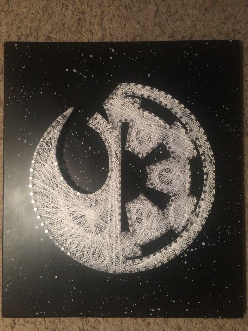 string art star wars rebel empire logo black spray painted