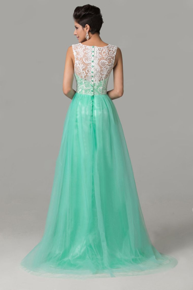 2015 Scoop A Line Court Train Sassy Prom Dress Tulle With White Lace ...