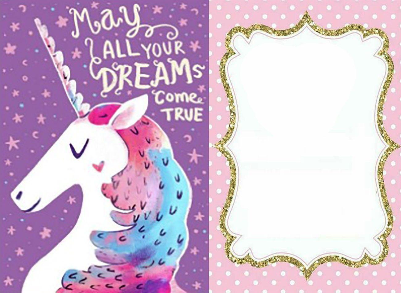 free printable unicorn invitation card