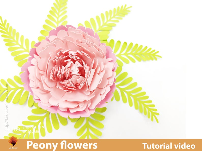 Giant Peony Paper Flowers template SVG -Diy paper flowers template  Printable flower backdrop flower svg wedding PDF paper flower nursery #giantpaperflowers