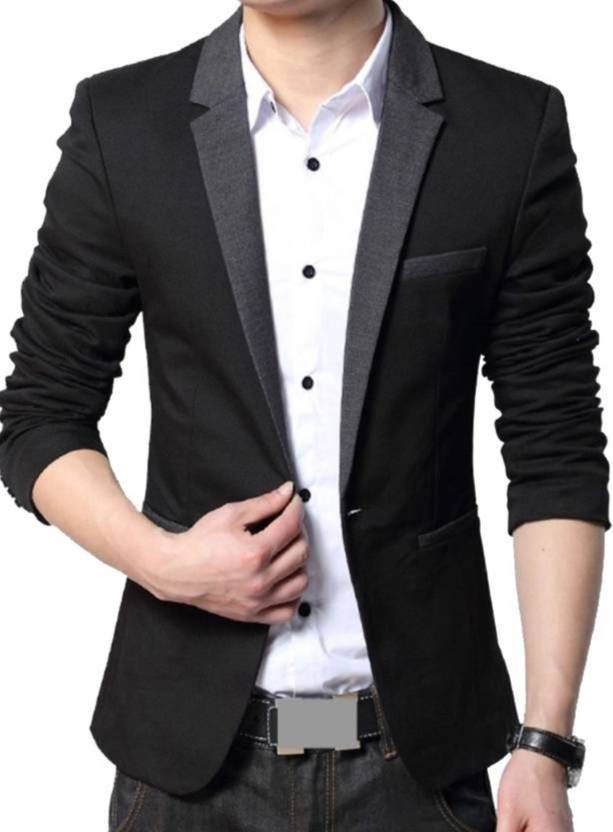 c9424280253b Beetle Solid Single Breasted  Party  Men s  Blazer (Black)  Flipkart ...