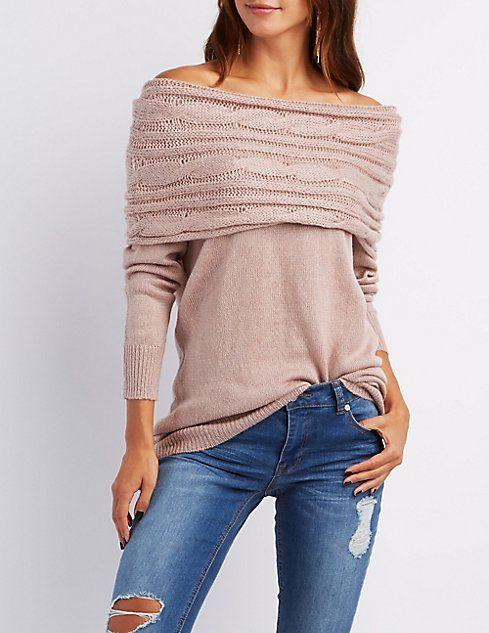 Cowl Neck Off The Shoulder Sweater Denim Dames Pinterest