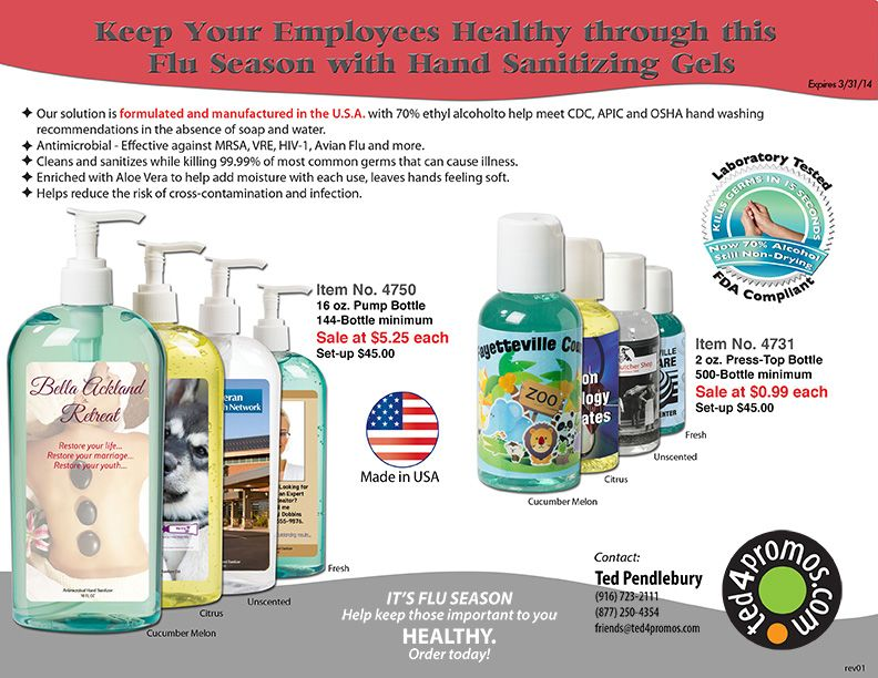KILL MORE BAD GUYS and promote your wellness program! Employee absenteeism is costly - help your employees and customers stay healthy. And this is the GOOD stuff - antimicrobial is effective against more bad guys than regular ol' antibacterial. And the aloe vera keeps your hands nice. Four scents, including unscented - call for a sample!