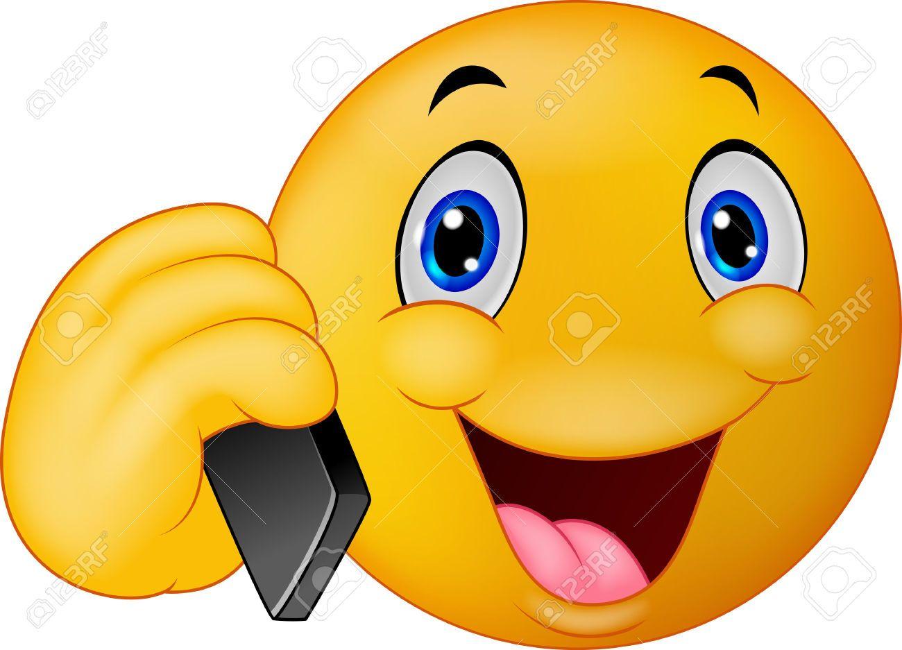Cartoon Emoticon Sonriente Hablando Por Teléfono Celular