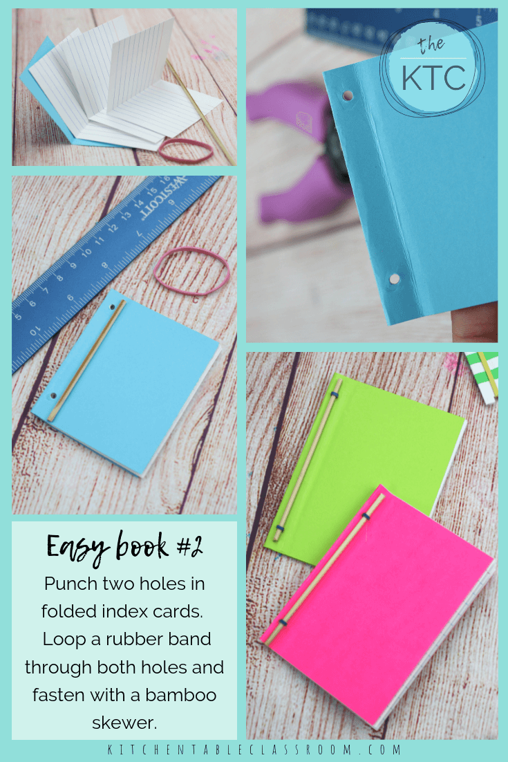 Easy Bookbinding For Kids How To Make Three Different Rubber Band Books The Kitchen Table Classroom Diy Coloring Books Book Binding Diy Diy Book