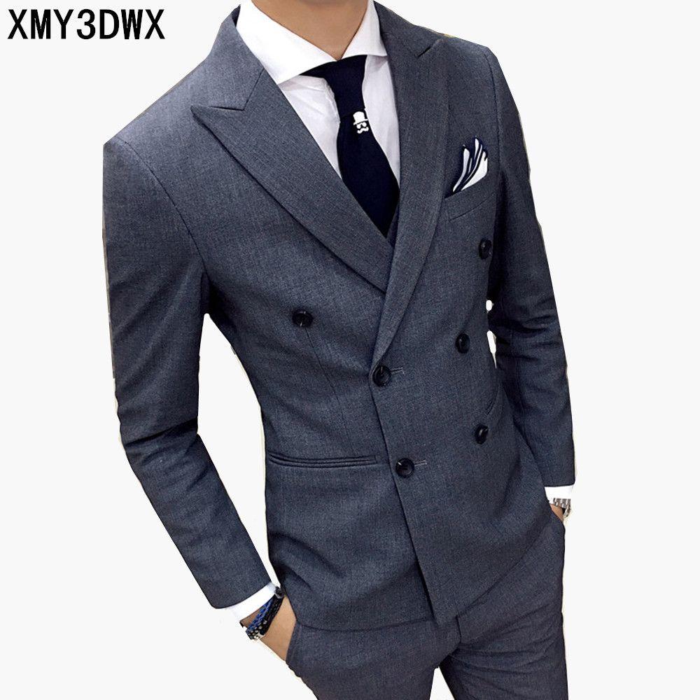 business casual suit men two pieces set not include vest