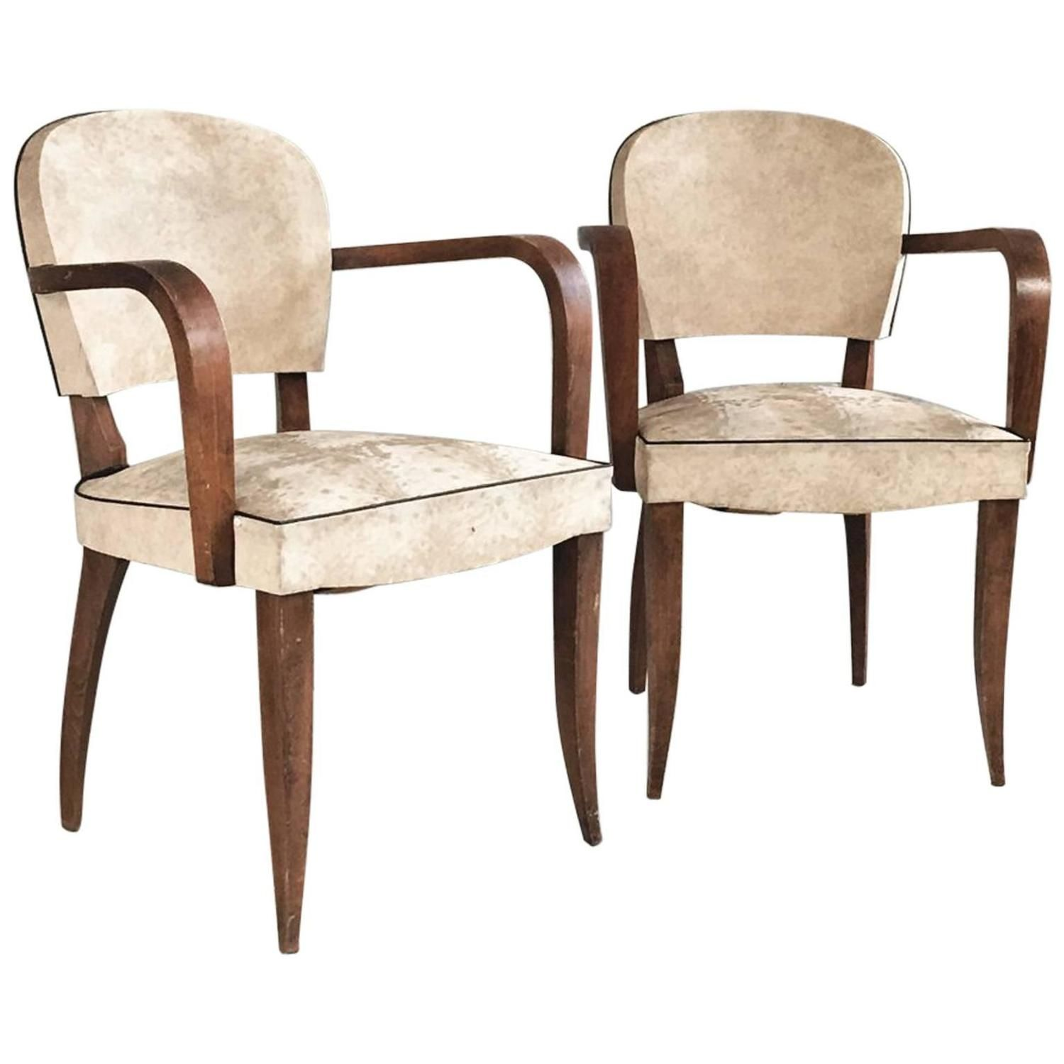 Pair of 1960s Mid Century Belgian White Vinyl Chairs with Sculpted