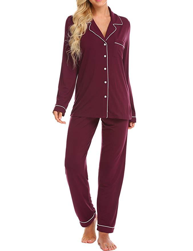 Long Sleeve Sleepwear Soft Pj Lounge Sets Nightwear Pajamas for Women Womens Pajamas Set