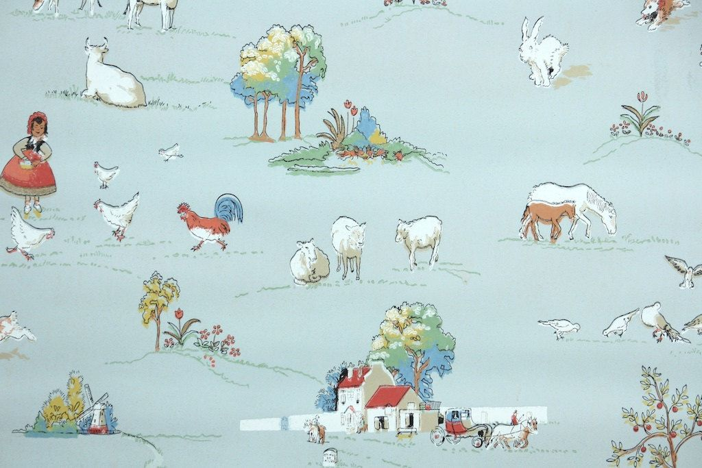 1930s Vintage Wallpaper By The Yard Farm Animals Scenic Vintage Wallpaper Novelty Wallpaper Retro Wallpaper