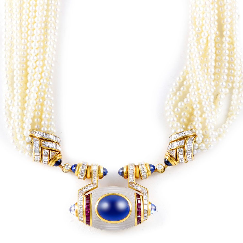 Estate bvlgari womenus k yellow gold precious gemstone u pearl