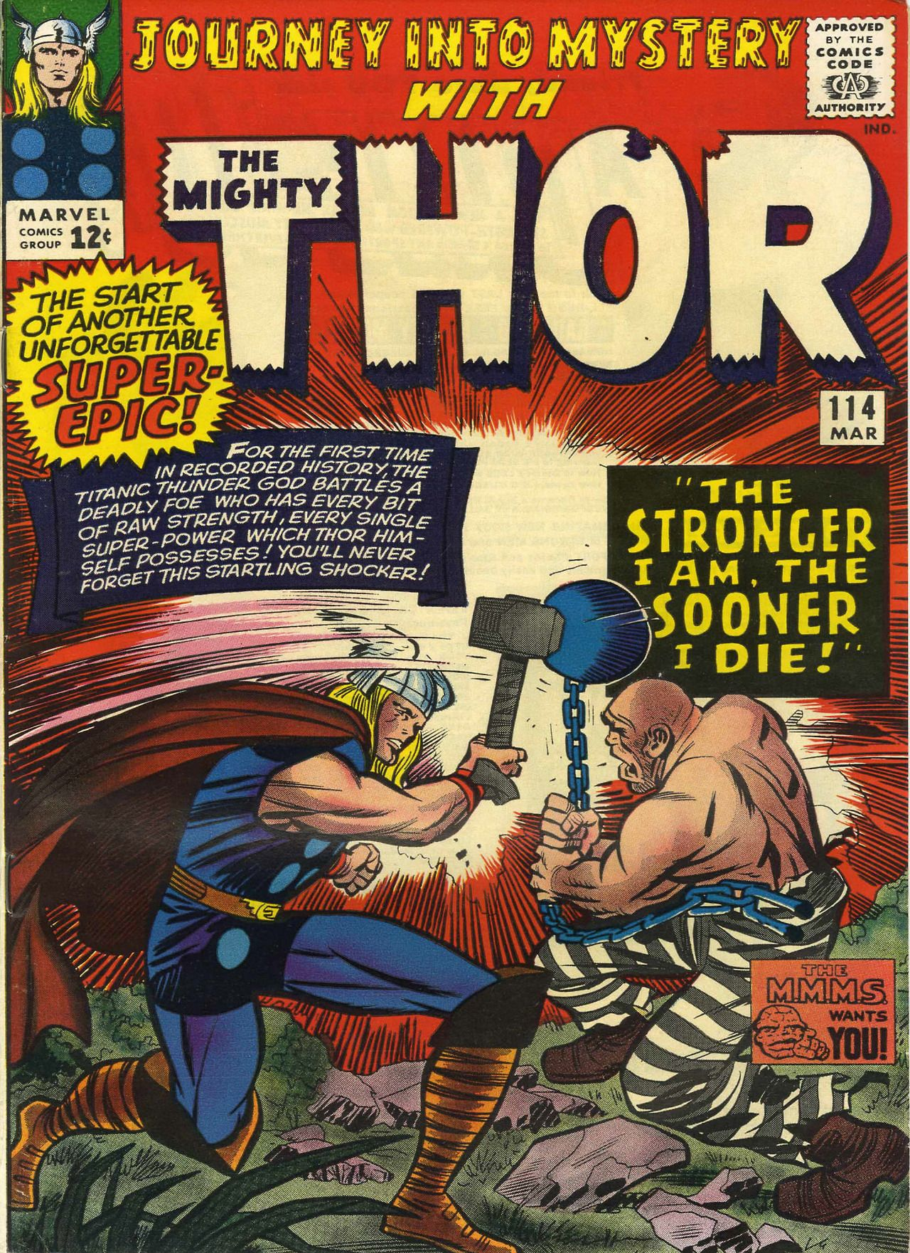 Thor vs. the Absorbing Man in Journey Into Mystery #114 - art by Jack Kirby.