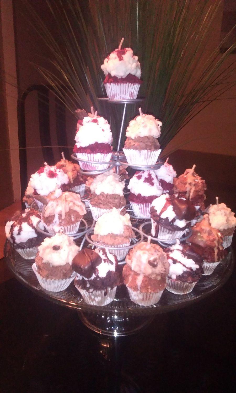 12 Cute Mini Gourmet Cupcake Candles Cinnamon Bun, Mocha Latte, Red ...