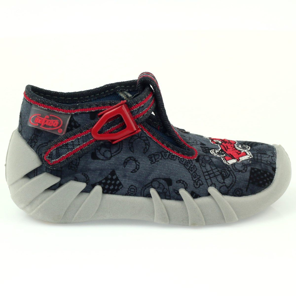 Befado Obuwie Dzieciece Kapcie 110p324 Czarne Szare Czerwone Childrens Slippers Childrens Shoes Kid Shoes