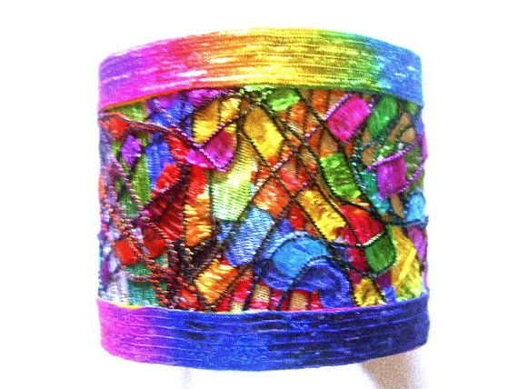 Isn't this gorgeous? The designer, Definitely Different (on Etsy), used FABRIC to create this stunning bracelet.