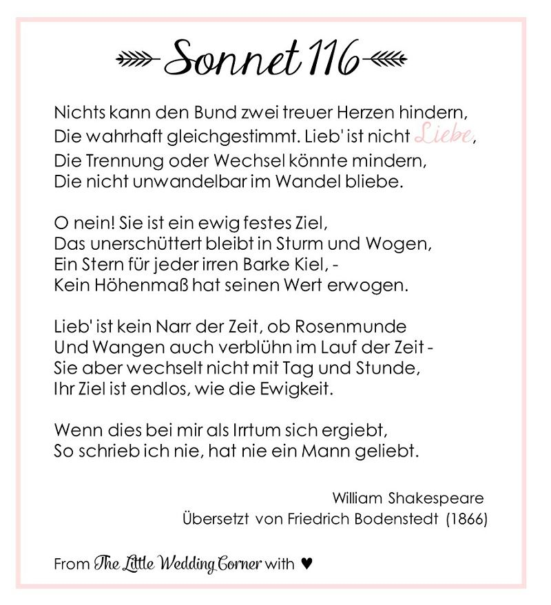 Gedicht Zur Hochzeit Shakespeares Sonnet 116
