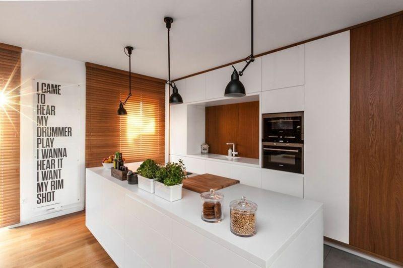 Cuisine bois et blanc dans un appartement en 25 id es - Extraordinaires idees declairage cuisine ...