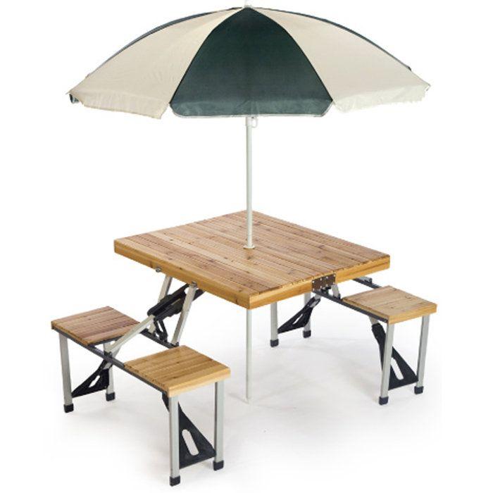 Picnic Plus Portable Wood Folding Picnic Table With Umbrella