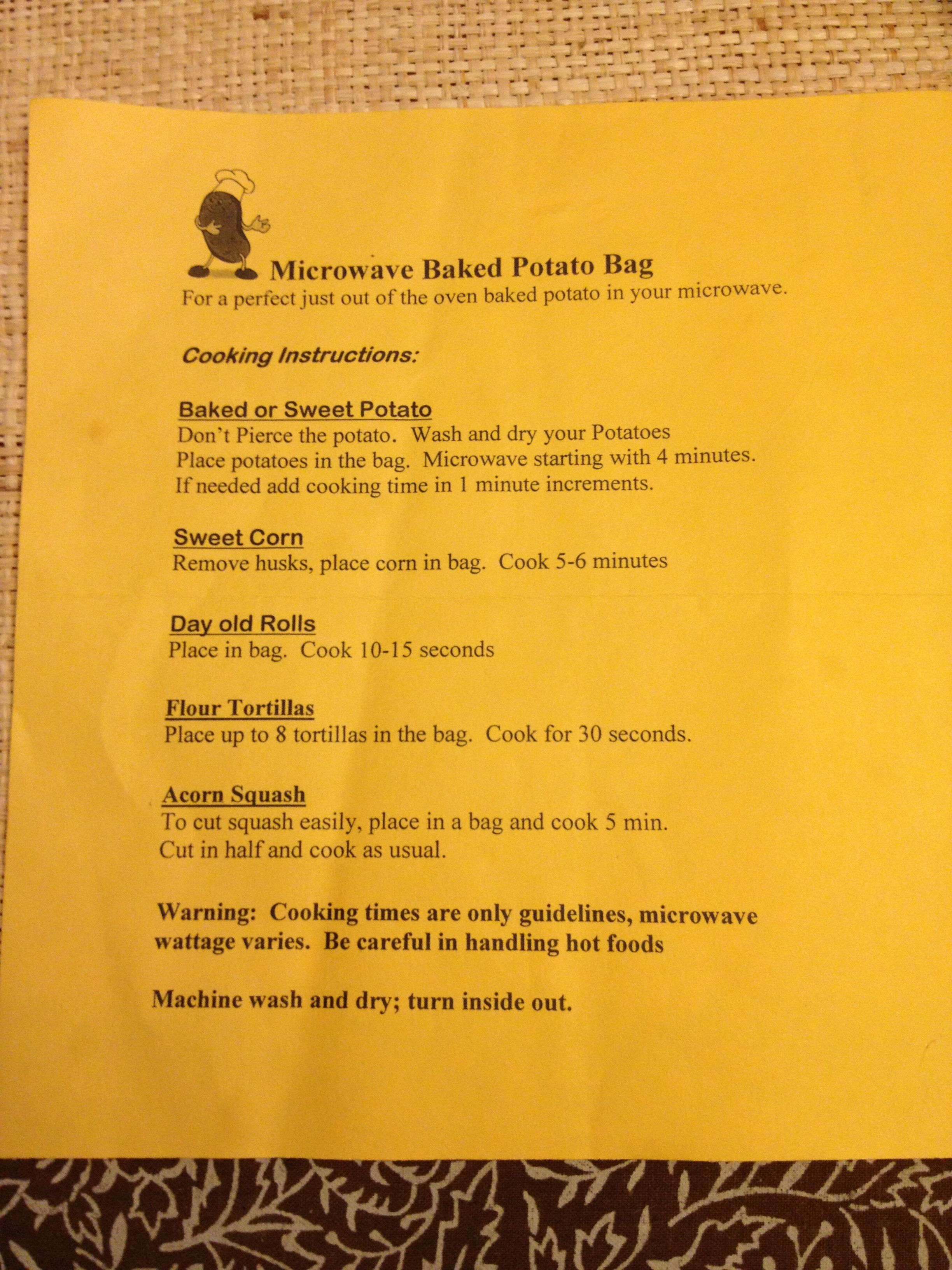 Microwave Baked Potato Bag Instructions