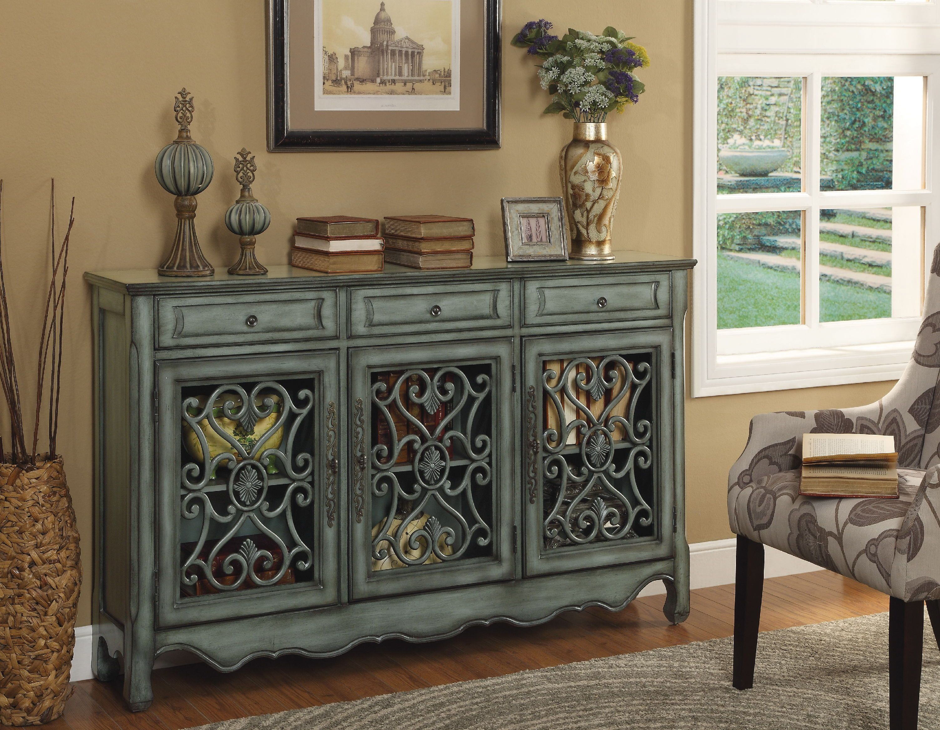 Coast to Coast Accents Living Room 3 Drawer 3 Door Credenza 56417 - B.F.  Myers Furniture