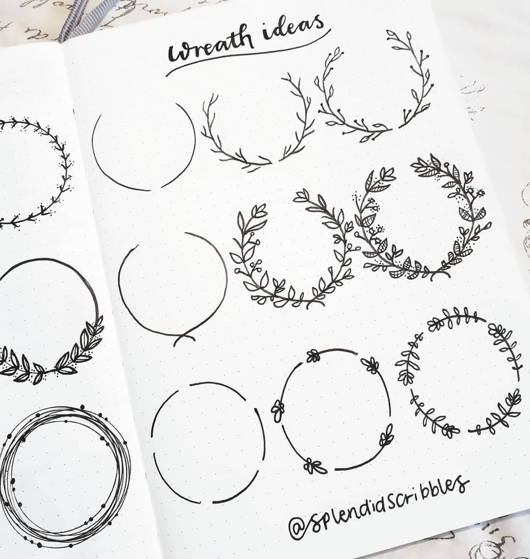 """Photo of Splendid Scribbles on Instagram: """"Doodled some little Wreaths in my bullet journal today, and they're really not as complicated as they look if you remember to use pencil…"""""""