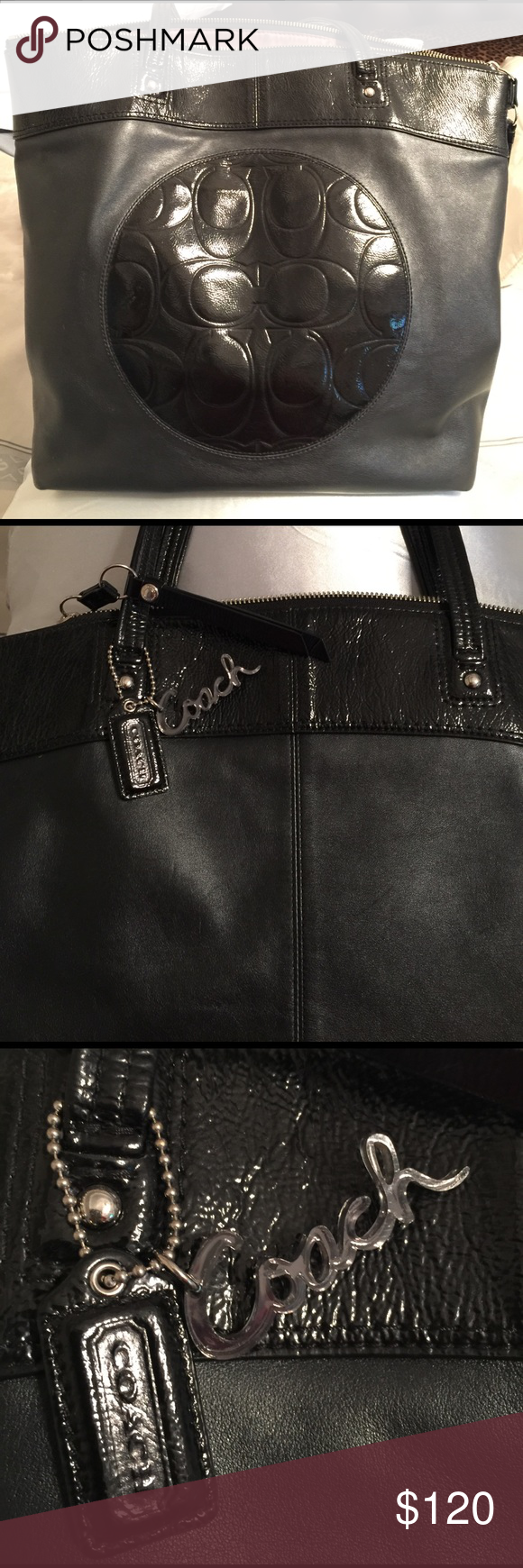 Coach purse Coach purse tote. Black leather with shiny material with logo on front. I love this purse. I just purchased another so want to sell. It is in good condition and has been used but in great shape. Coach Bags Shoulder Bags