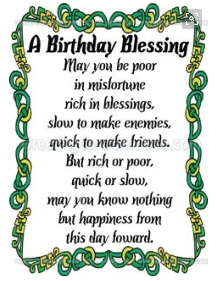 Irish Birthday Blessing Wishes Prayer Spiritual