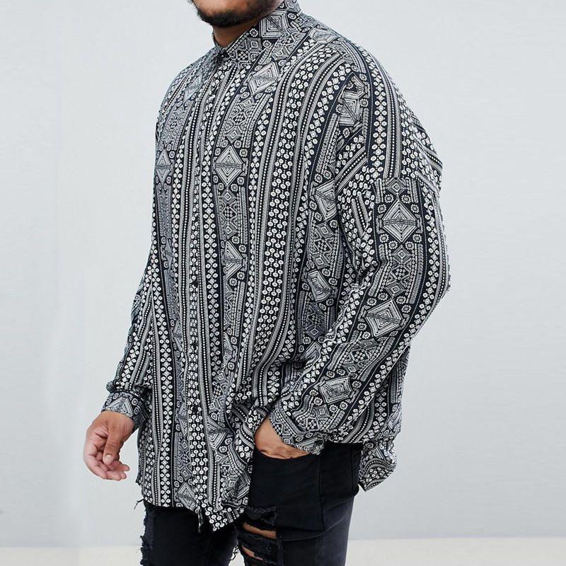 X-Future Mens Dashiki Mid Length Long Sleeve Printed Big /& Tall Casual Shirts