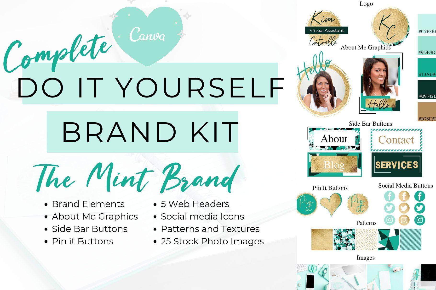 Canva Mint Website Branding Kit Ad , AD, girlproud