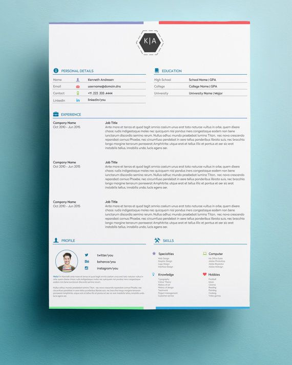 Resume Template and Cover Letter Template for Word DIY Printable 3