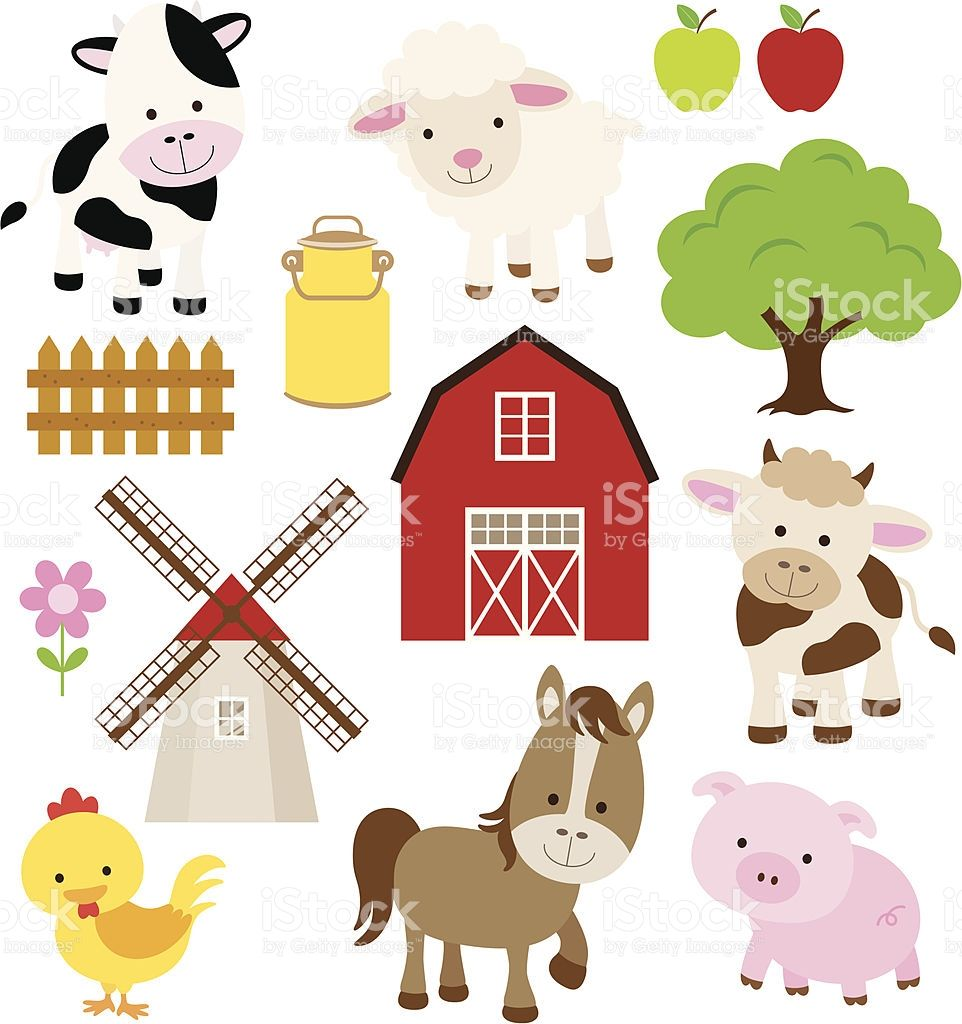 Vector illustration of farm animals and related items