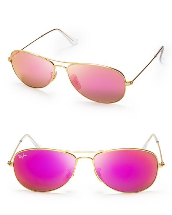 Ray Ban New Aviator Pink Mirrored Sunglasses Bloomingdales S