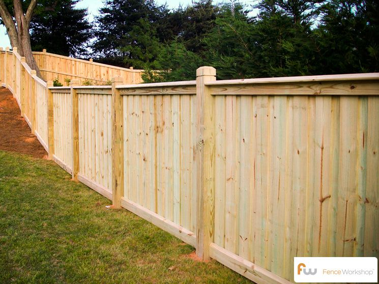 Custom board on board fence traditional privacy fences for Wood privacy fence ideas