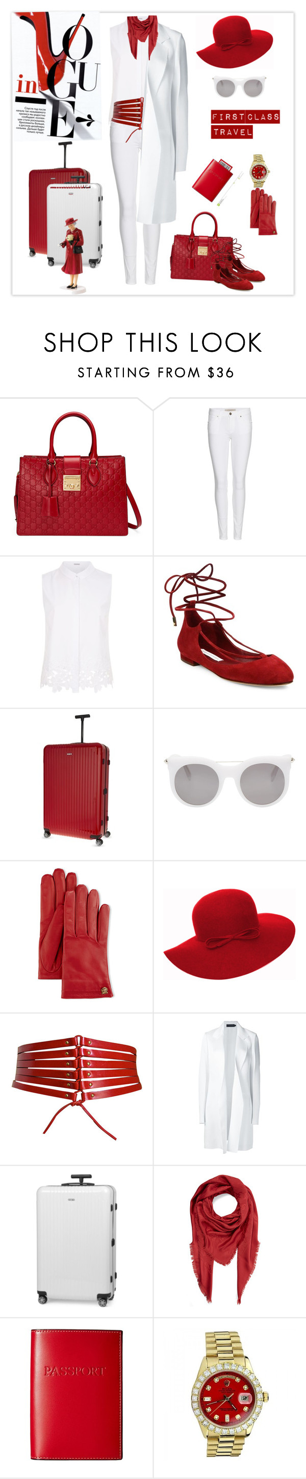 """First Class Travel"" by weirnixie ❤ liked on Polyvore featuring Gucci, Burberry, Elie Tahari, Diane Von Furstenberg, Rimowa, Alexander McQueen, Alaïa, Calvin Klein Collection, Marc Jacobs and Lodis"