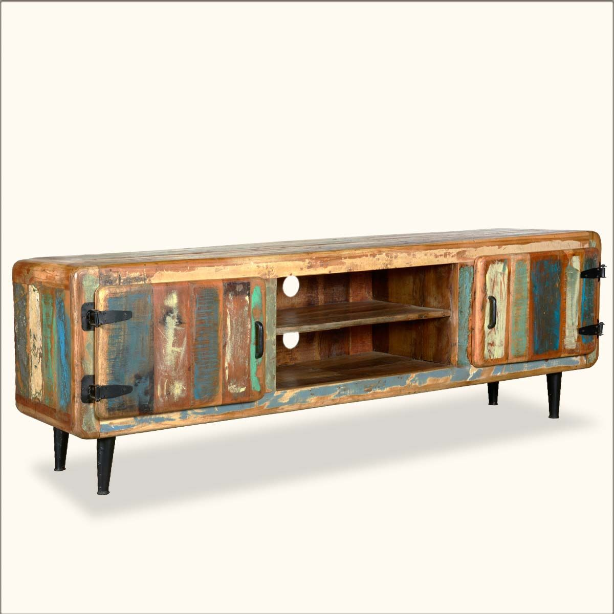 Medway Retro Reclaimed Wood Large Media Console W Center