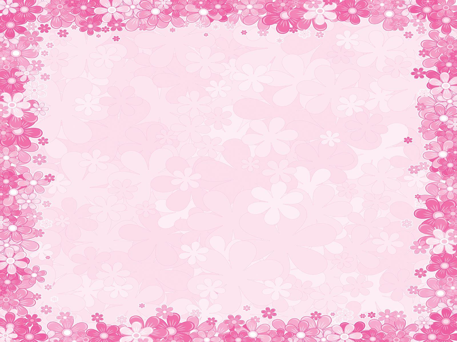 pink floral borders Pink floral frames PPT Backgrounds