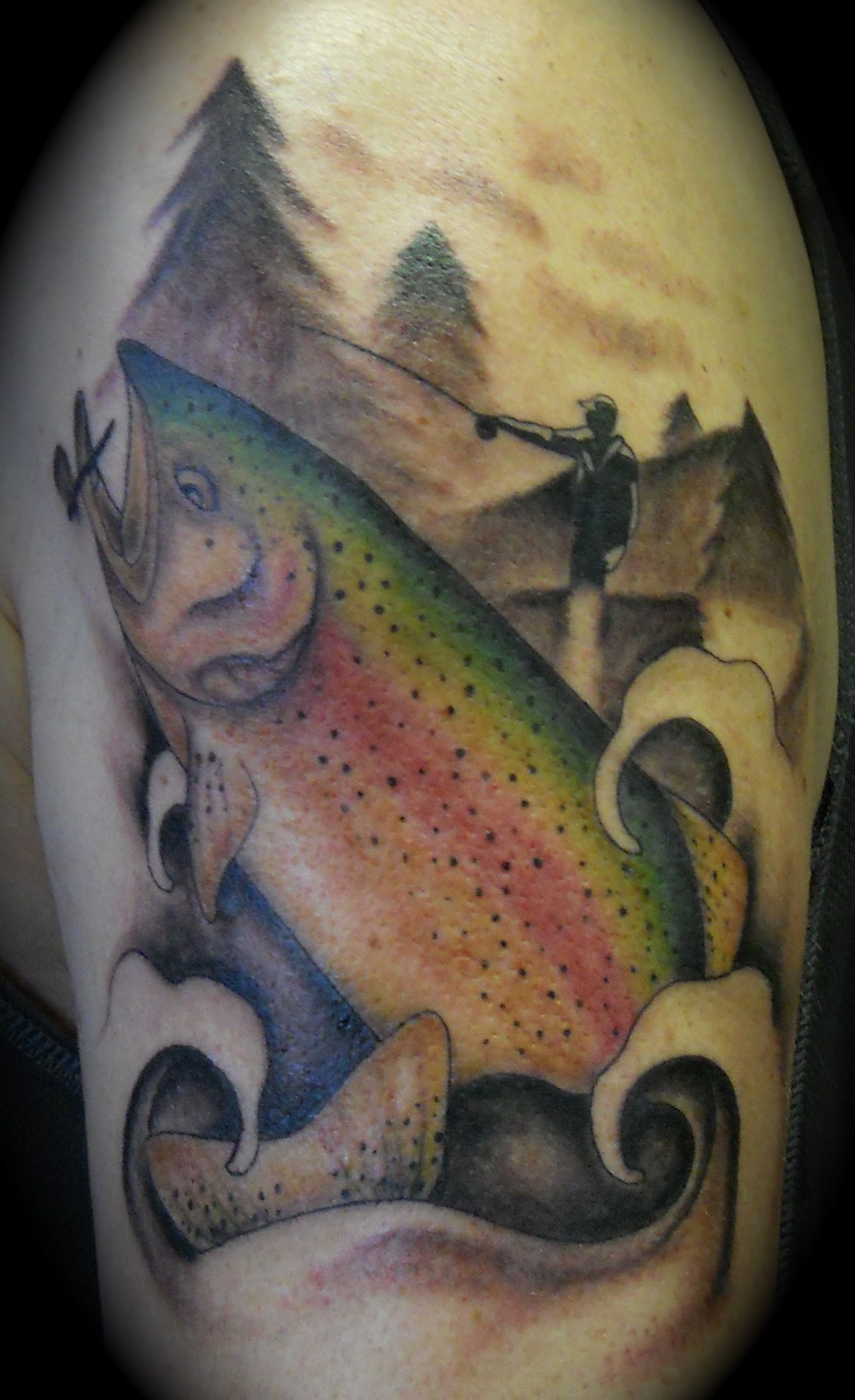 Trout tattoo fly fishing tattoo by lila rees tattoos for Fishing tattoos designs