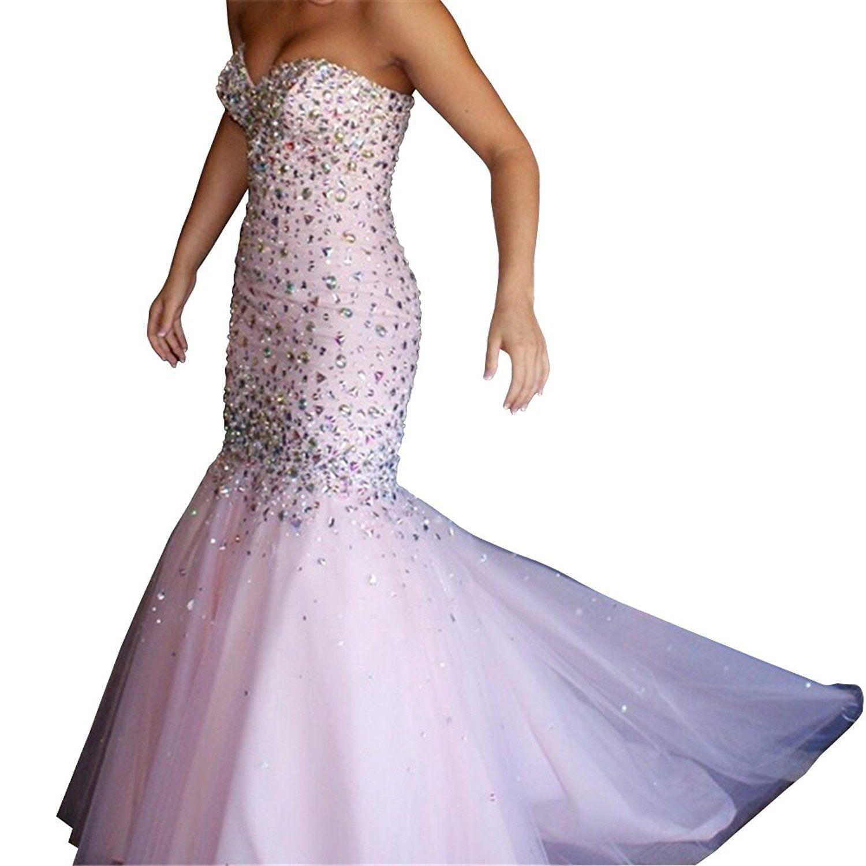 Yangprom sweetheart crystals mermaid floorlength prom dress sexy