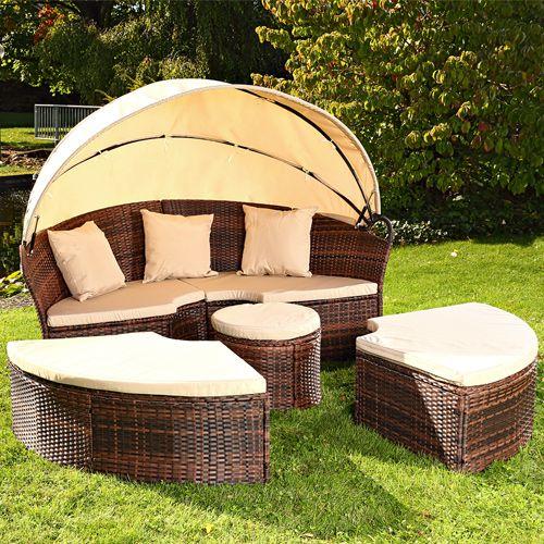 Sonneninsel Mit Tisch Rattan Polyrattan Gartenmuschel Sonnenliege Braun/Schwarz    EBay