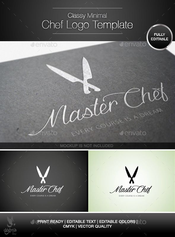 Classy and Minimal Chef Knife Logo Template Logo templates - chef templates