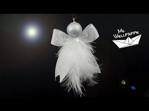 süße Engel basteln zu Weihnachten aus Geschenkbändern z.B. als Christbaumschmuck oder Fensterschmuck - YouTube #weihnachtsdekobasteln