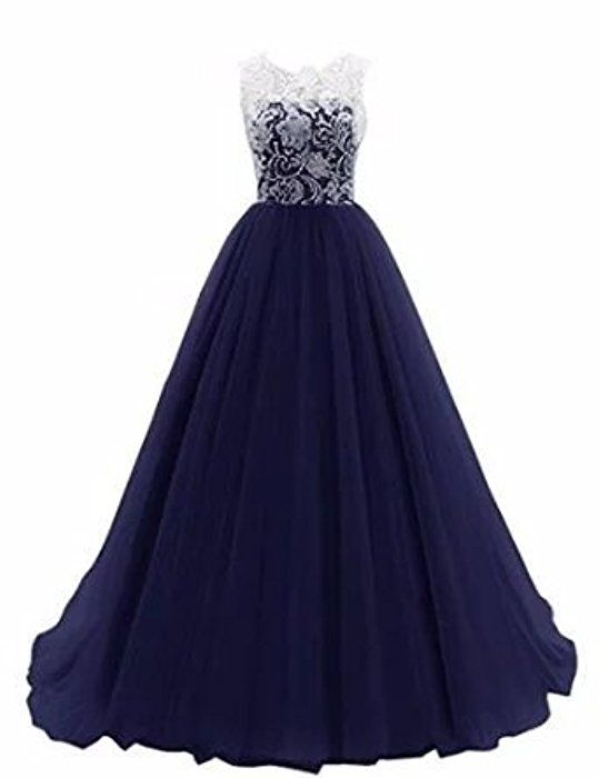 Damen A-Linie langes Lace Tuell Abendkleid Ballkleid brautjungfer ...