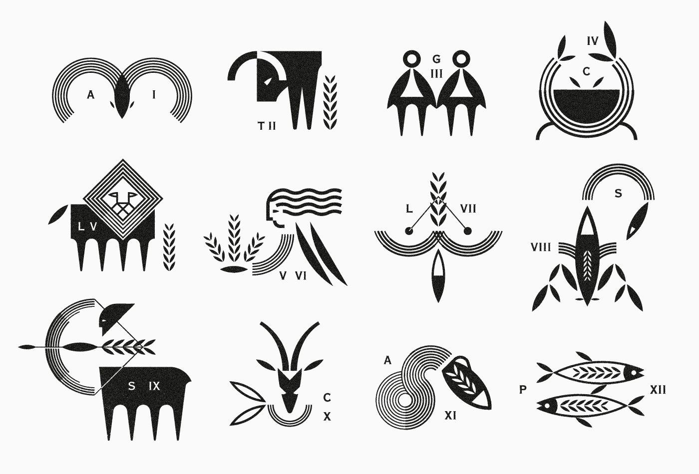 Logo Logos Marks Vacaliebres Zodiac Greek Symbolslogomarks A