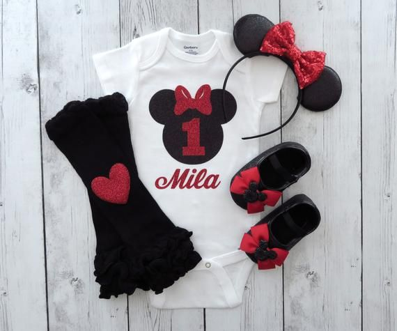 208a832e8 Minnie Mouse First Birthday Onesie with matching shoes and minnie ears -  personalized outfit, minnie